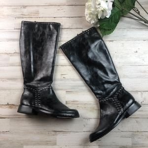 Aerosoles Studded Faux Leather Double Zip Boots